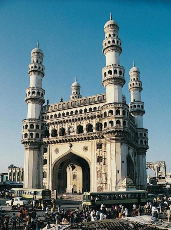 The Char Minar (four tower) gate building in Hyderabad, Andhra Pradesh, was erected in 1591. The square building has 30 m long sides. The minarets are 60 m high.