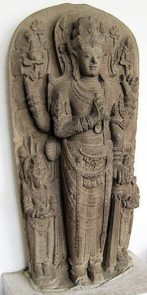 Statue of the Hindu god Harihara from the Majapahit kingdom (13th century) in Indonesia