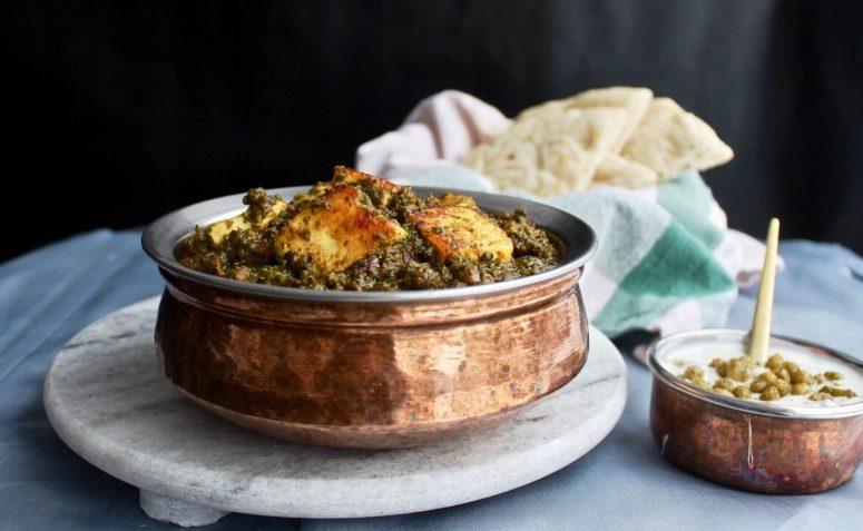 Palak panir is a dish with fresh cheese panir in spinach sauce