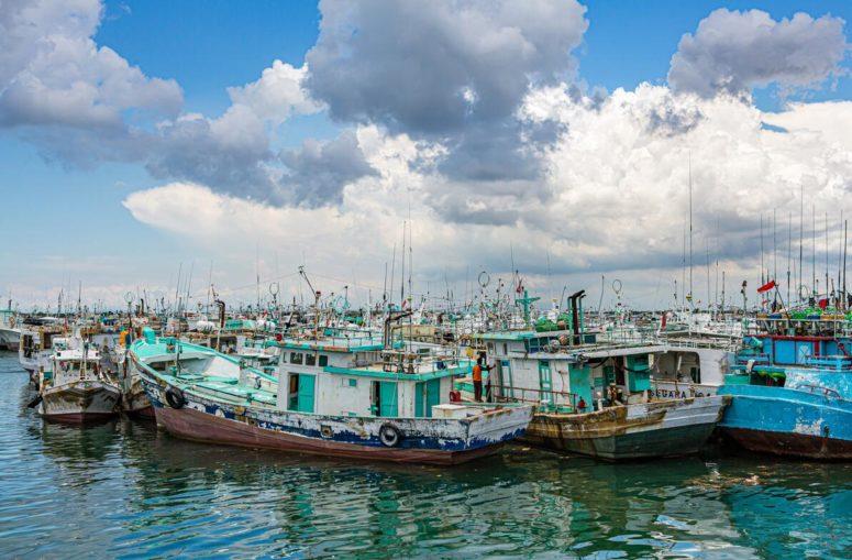 Moored fishing boats in Benoa, Bali, Indonesia