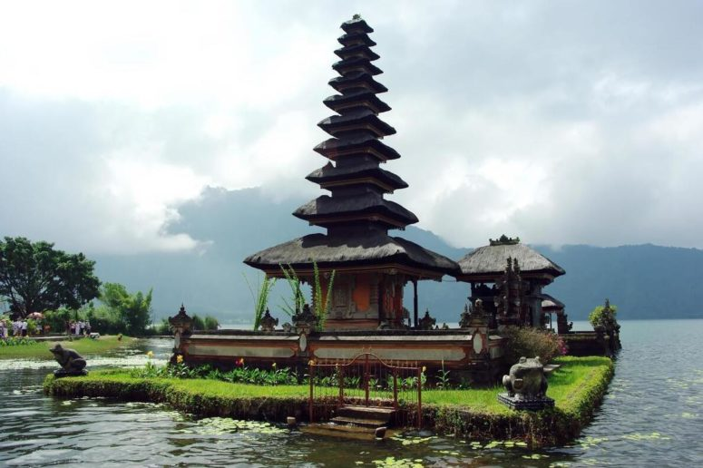 Temple in a river in Indonesia