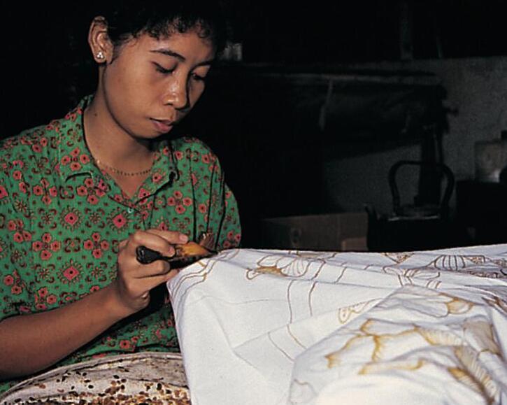 Traditional batik production in Surakarta in Java