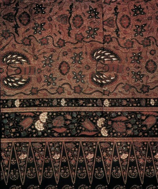 Indonesia has rich traditions in crafts, dance and woodcarving. Here is a batik work from Java.
