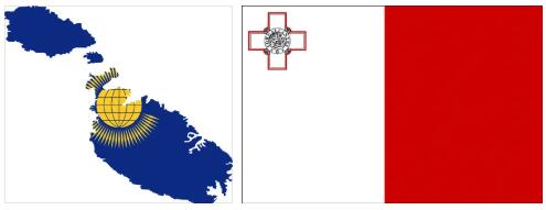 Malta Flag and Map