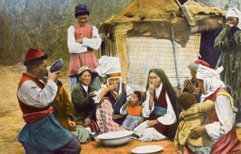 Colored photograph of a group of Kyrgyz people