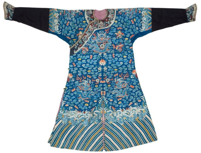 Costume. Polychrome silk embroidery. About. 1900.