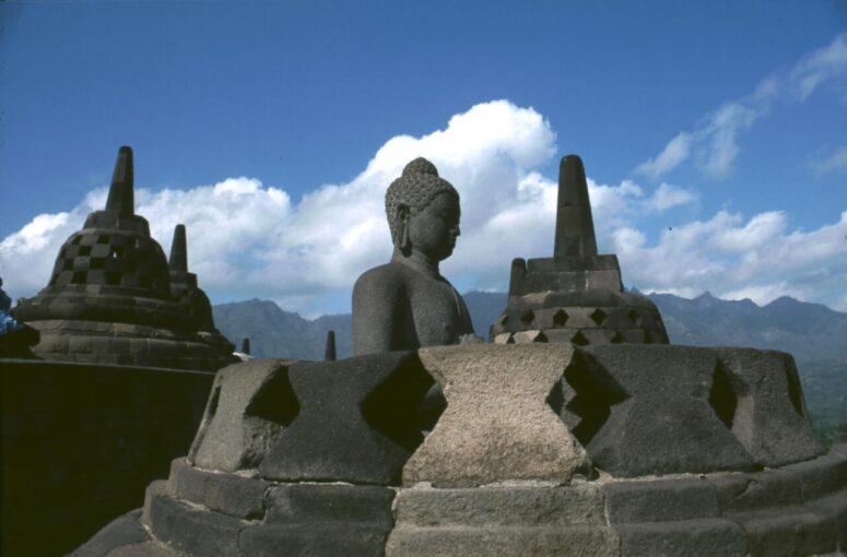 Buddhist Borobodur temple near Yogyakarta