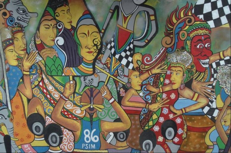 Picture on a house wall in Yogyakarta