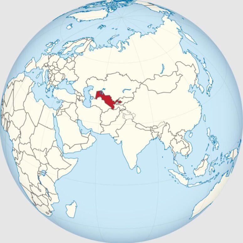 Location and size of Uzbekistan